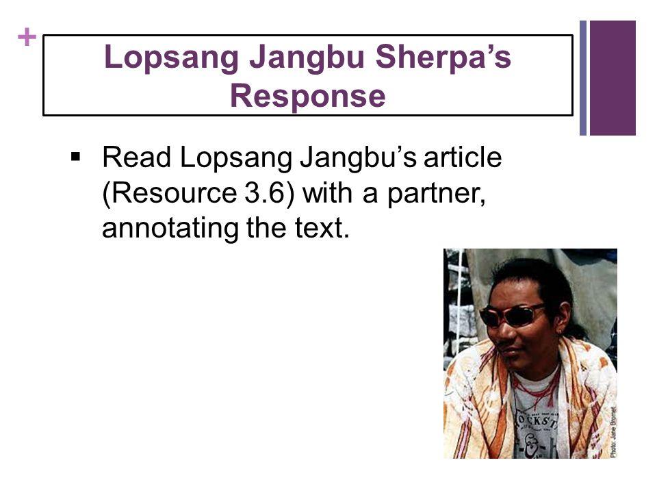 Lopsang Jangbu Sherpa's Response