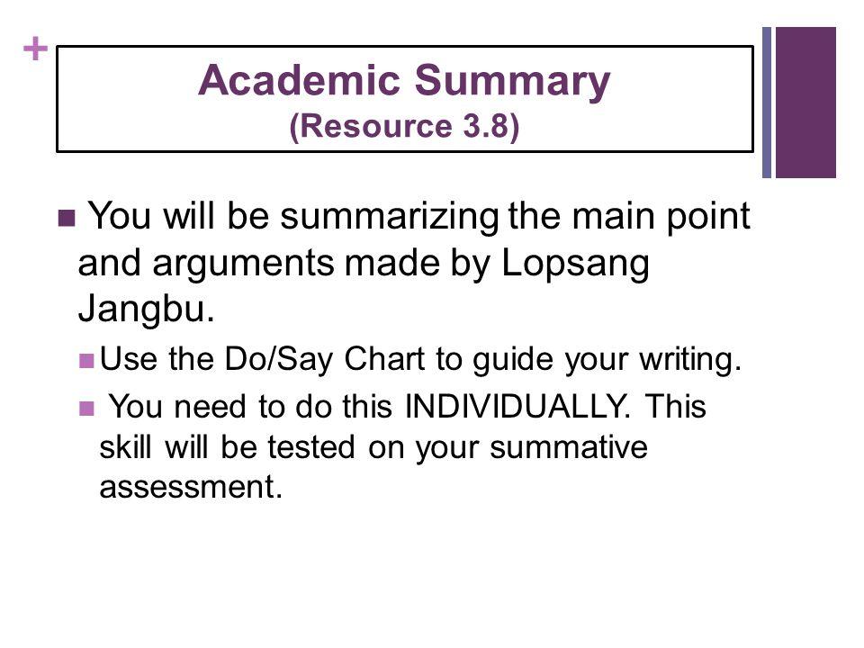 Academic Summary (Resource 3.8)