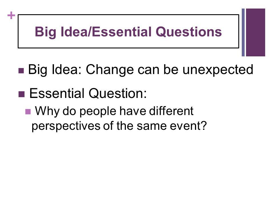 Big Idea/Essential Questions