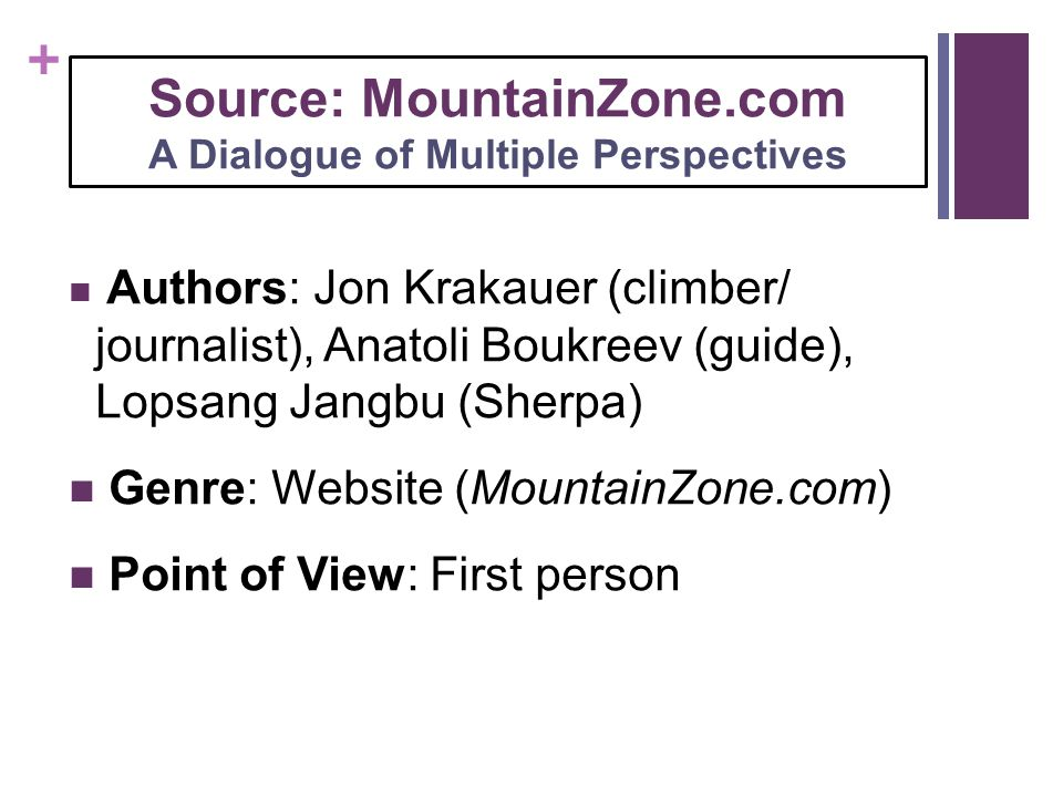 Source: MountainZone.com A Dialogue of Multiple Perspectives