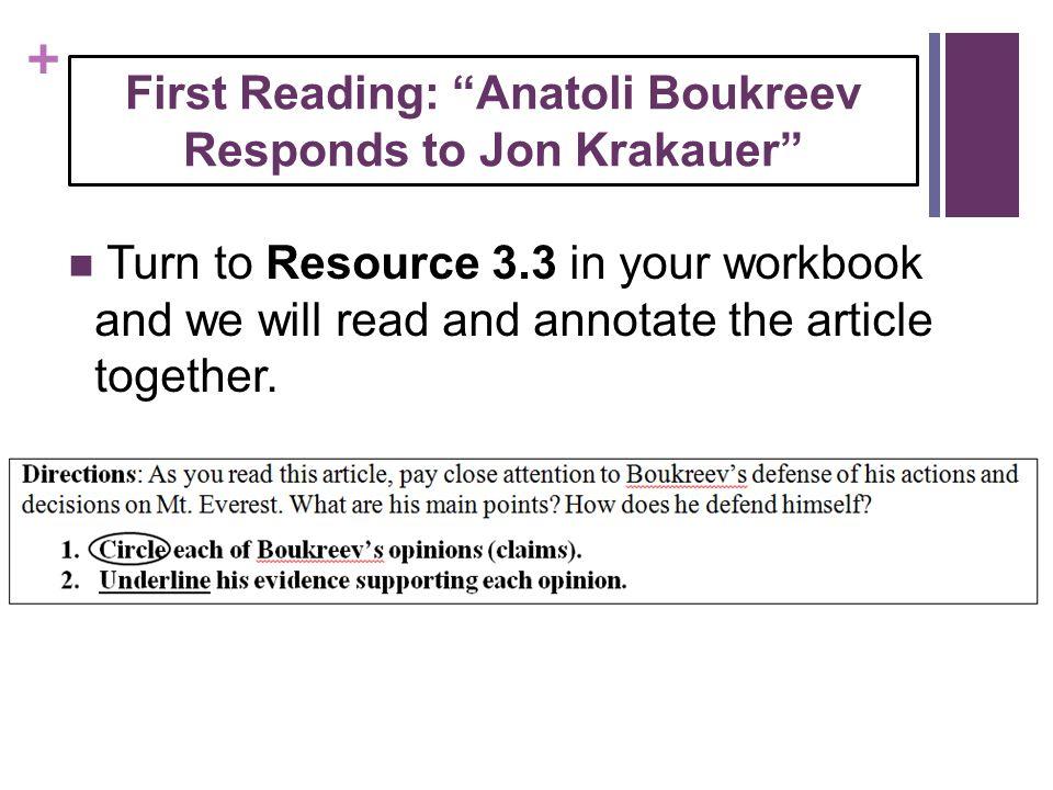 First Reading: Anatoli Boukreev Responds to Jon Krakauer