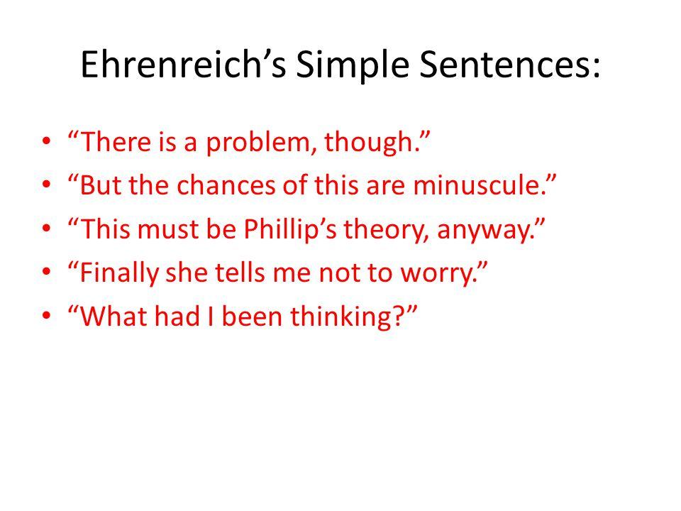 Ehrenreich's Simple Sentences: