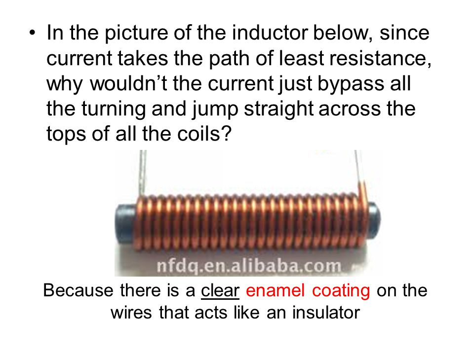 In the picture of the inductor below, since current takes the path of least resistance, why wouldn't the current just bypass all the turning and jump straight across the tops of all the coils