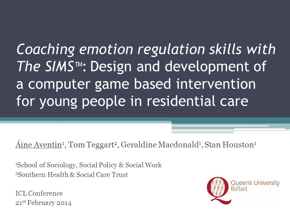 Coaching emotion regulation skills with The SIMS™: Design and development of a computer game based intervention for young people in residential care