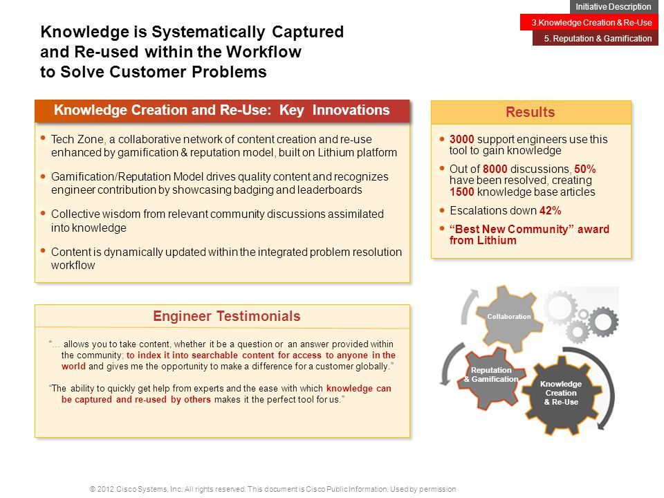 Knowledge Creation and Re-Use: Key Innovations Engineer Testimonials