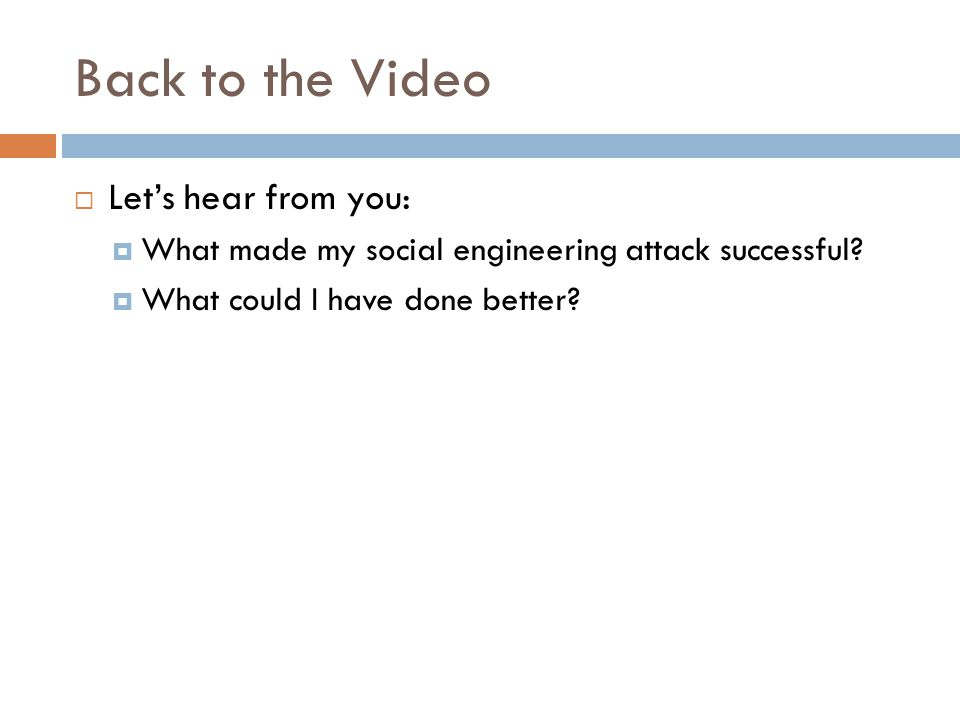 Back to the Video Let's hear from you: