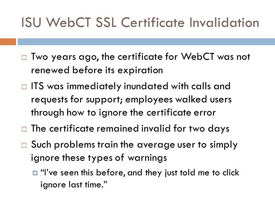 ISU WebCT SSL Certificate Invalidation