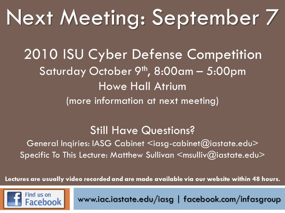 www.iac.iastate.edu/iasg | facebook.com/infasgroup