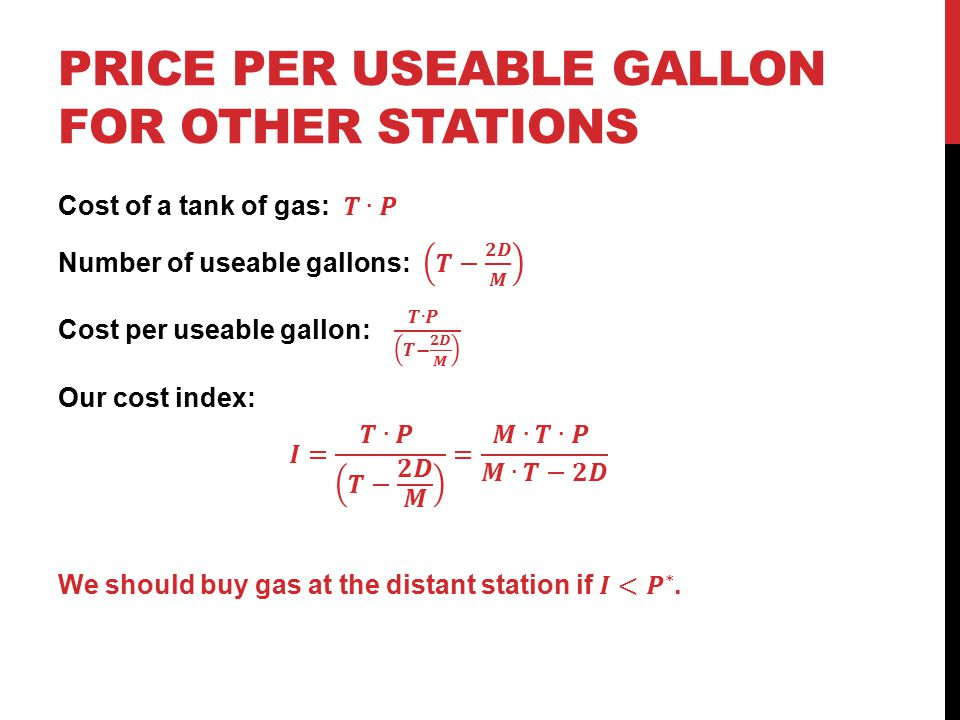 Price per useable Gallon for other stations
