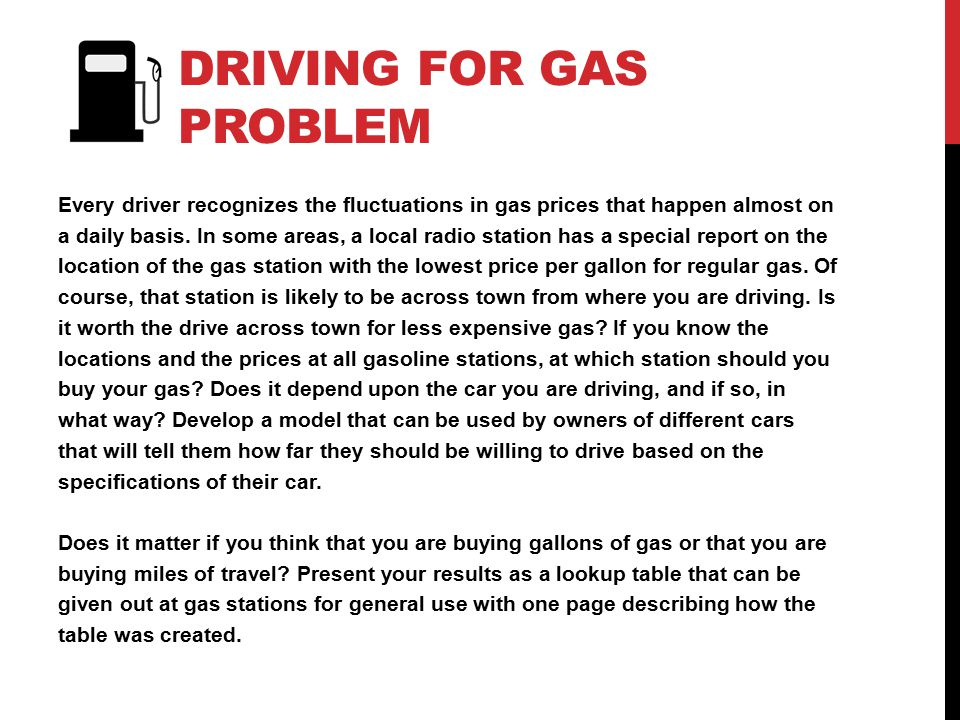 Driving for Gas problem