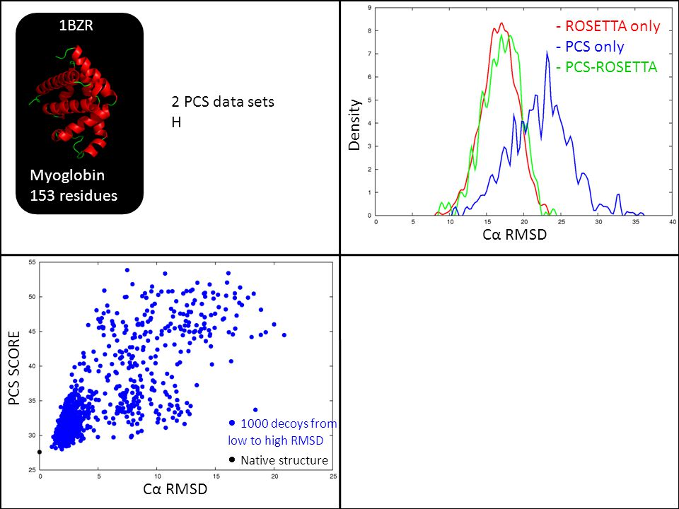 Myoglobin 153 residues. 1BZR. - ROSETTA only. - PCS only. - PCS-ROSETTA. Density. 2 PCS data sets.