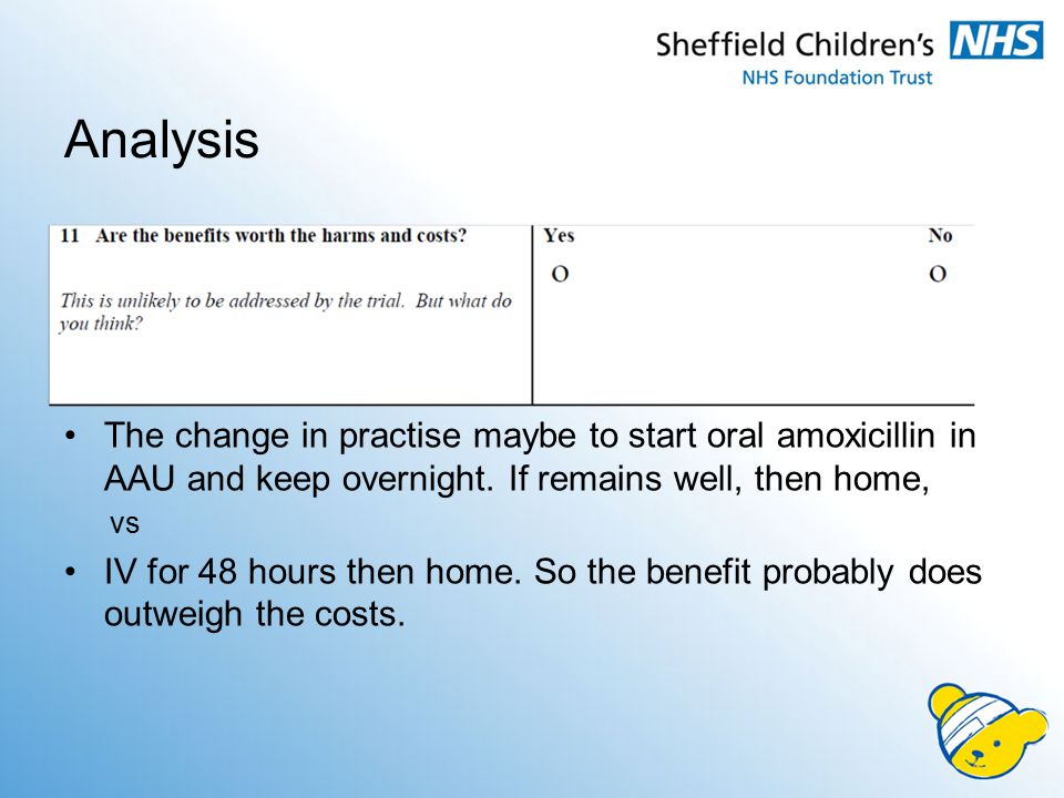 Analysis The change in practise maybe to start oral amoxicillin in AAU and keep overnight. If remains well, then home,