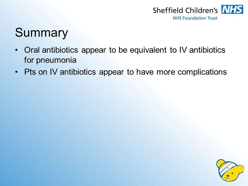 Summary Oral antibiotics appear to be equivalent to IV antibiotics for pneumonia.