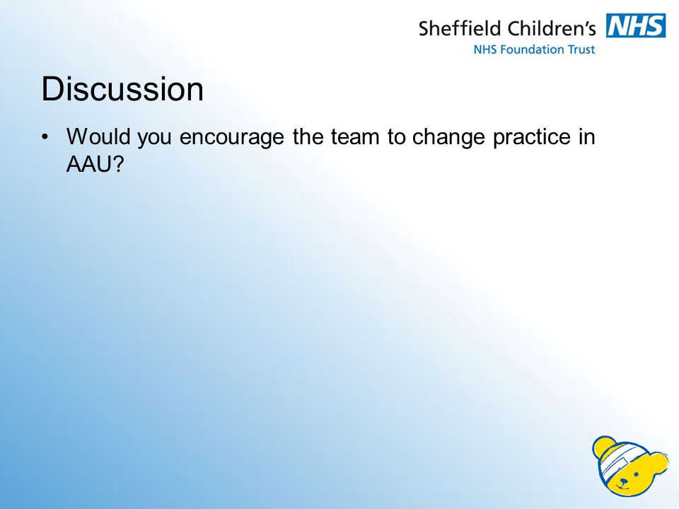 Discussion Would you encourage the team to change practice in AAU
