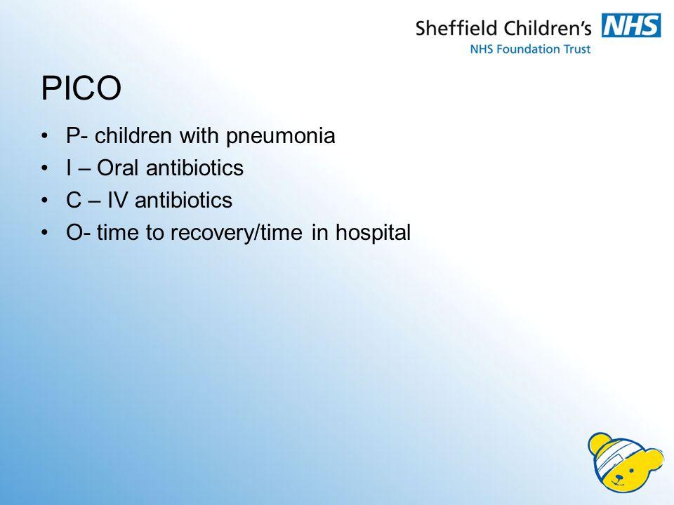 PICO P- children with pneumonia I – Oral antibiotics