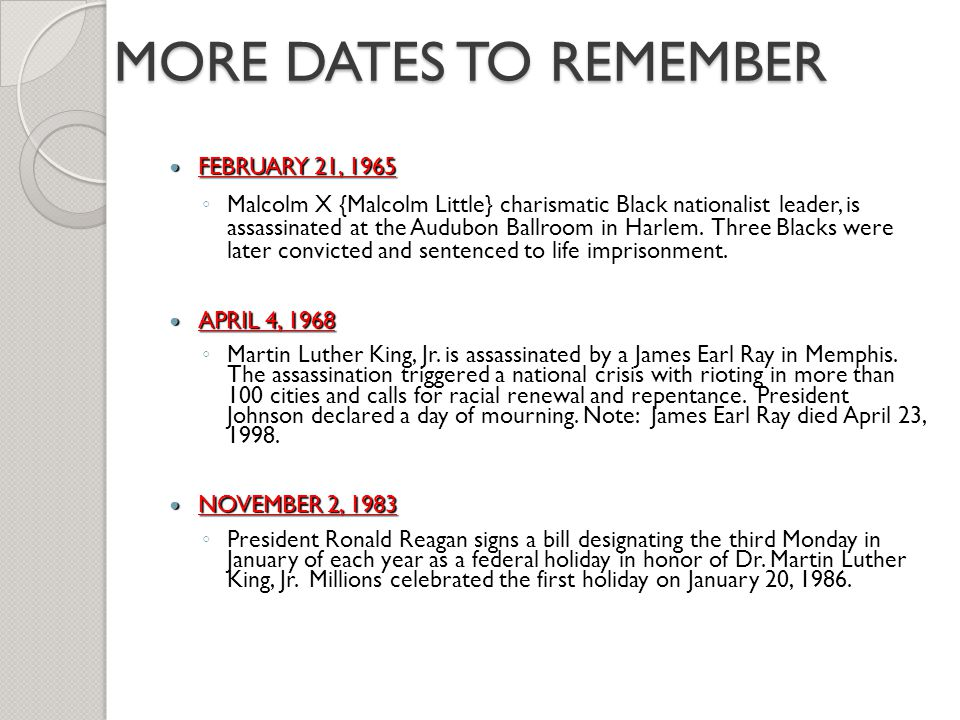 MORE DATES TO REMEMBER FEBRUARY 21, 1965