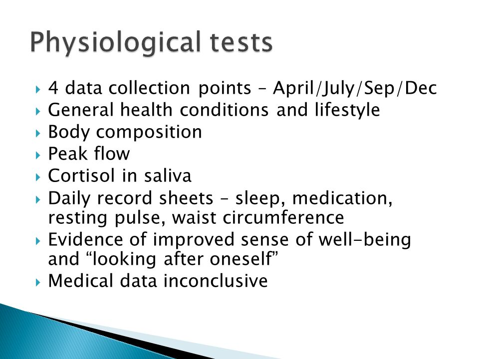 Physiological tests 4 data collection points – April/July/Sep/Dec