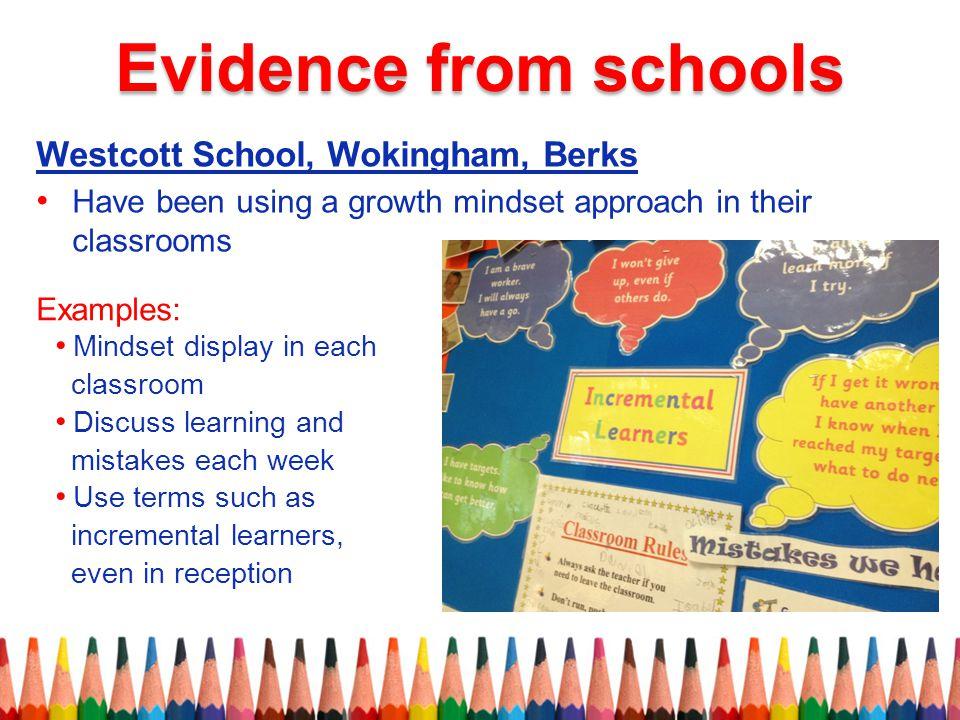 Evidence from schools Westcott School, Wokingham, Berks