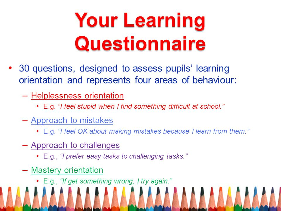 Your Learning Questionnaire