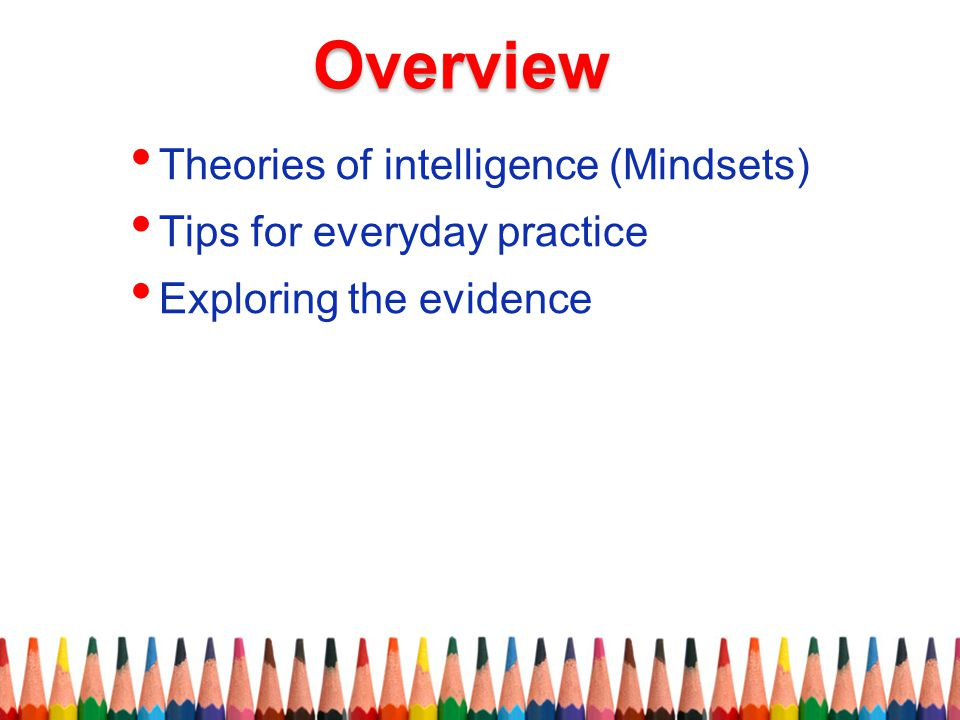Overview Theories of intelligence (Mindsets)