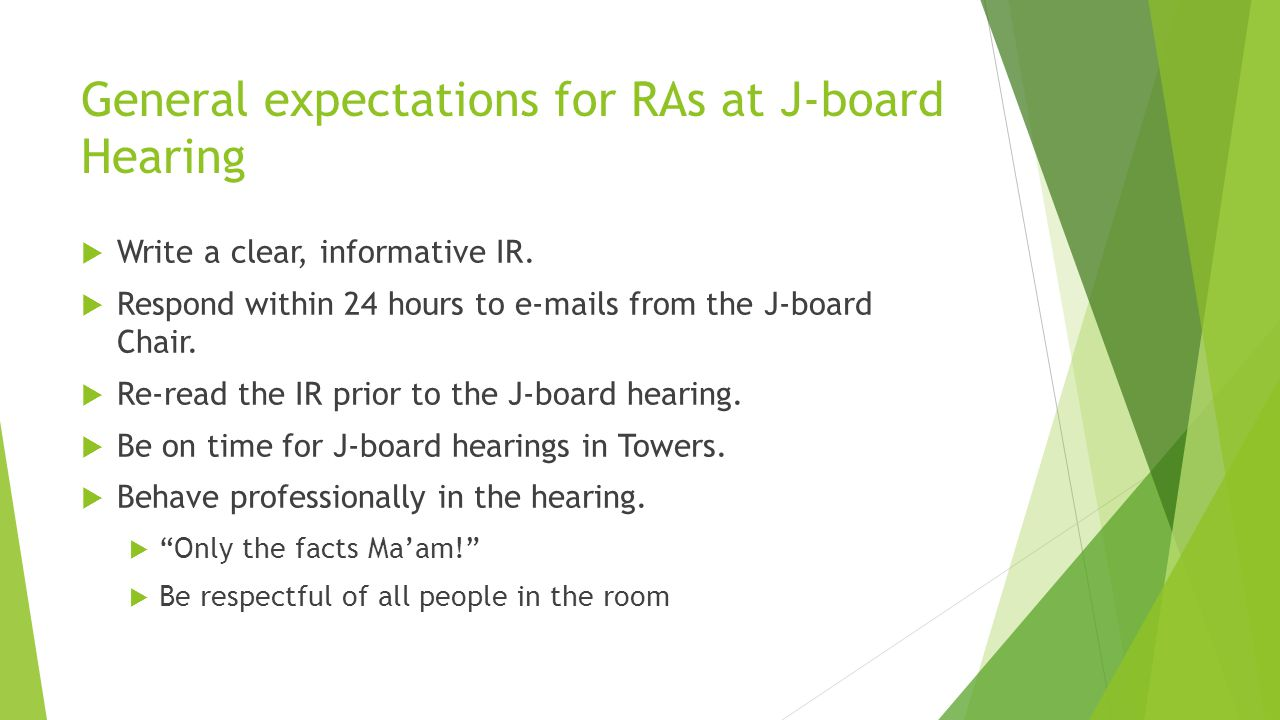 General expectations for RAs at J-board Hearing