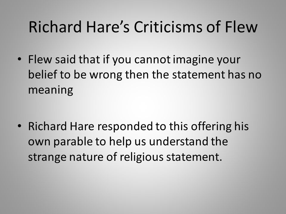 Richard Hare's Criticisms of Flew