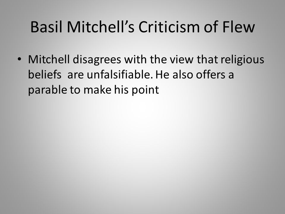 Basil Mitchell's Criticism of Flew