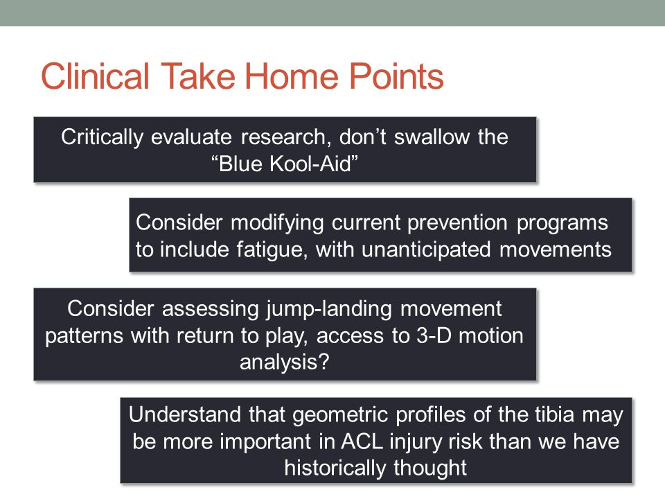 Clinical Take Home Points