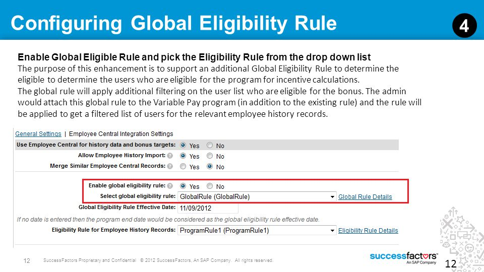 Configuring Global Eligibility Rule