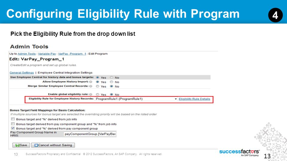 Configuring Eligibility Rule with Program