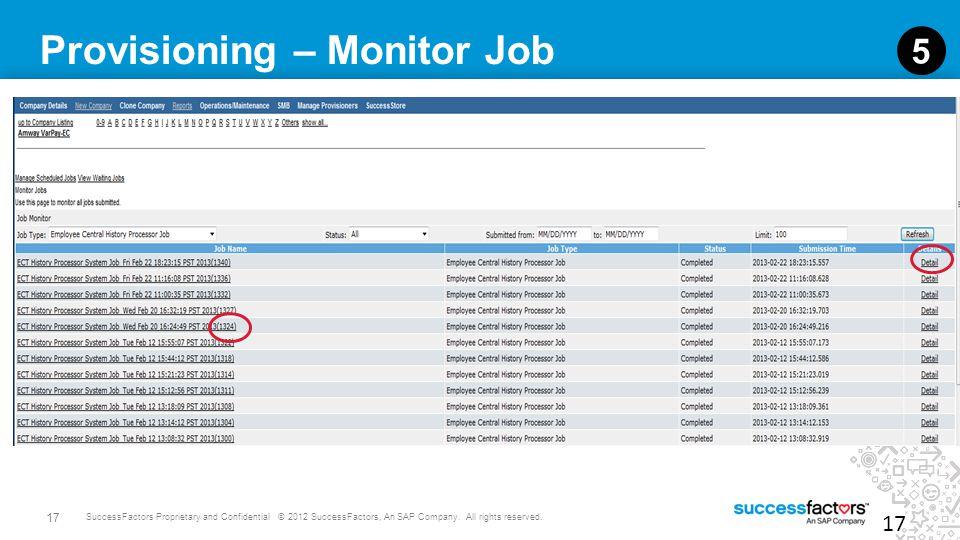 Provisioning – Monitor Job