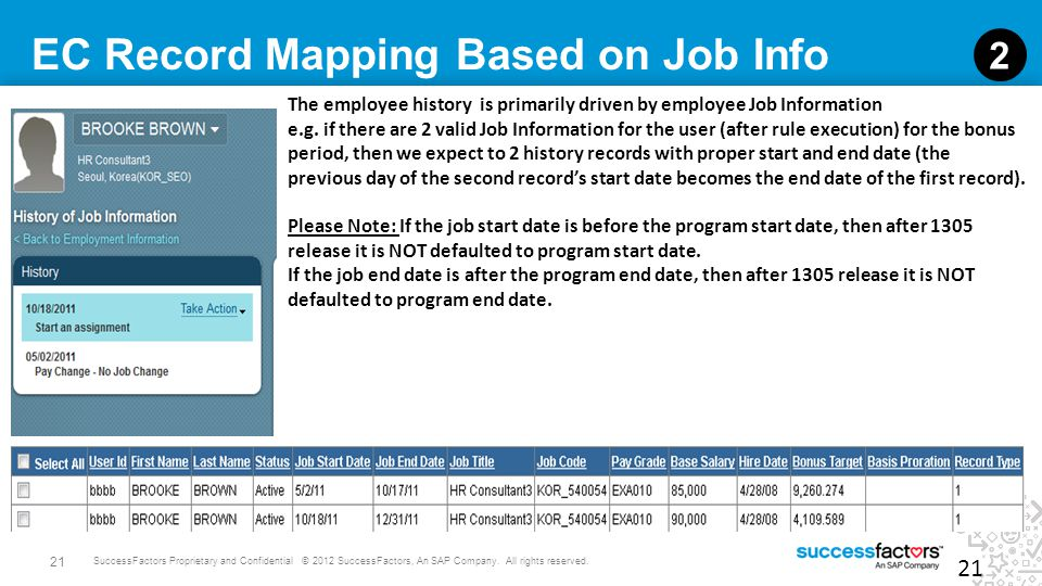EC Record Mapping Based on Job Info