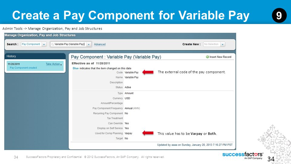 Create a Pay Component for Variable Pay