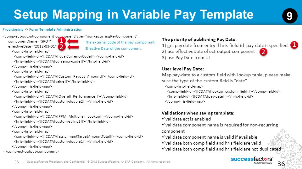 Setup Mapping in Variable Pay Template