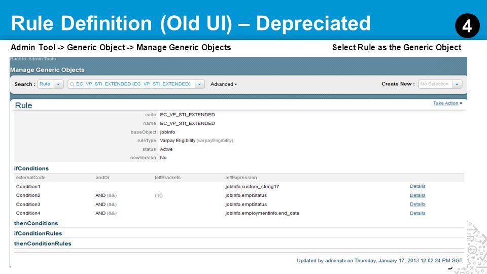 Rule Definition (Old UI) – Depreciated