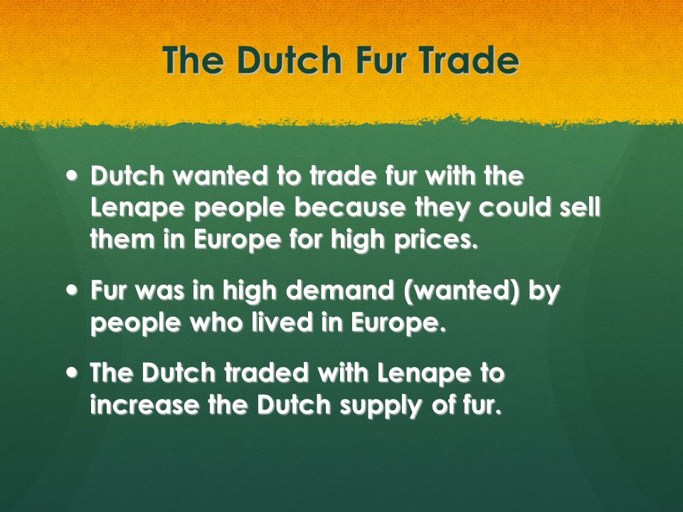 The Dutch Fur Trade Dutch wanted to trade fur with the Lenape people because they could sell them in Europe for high prices.