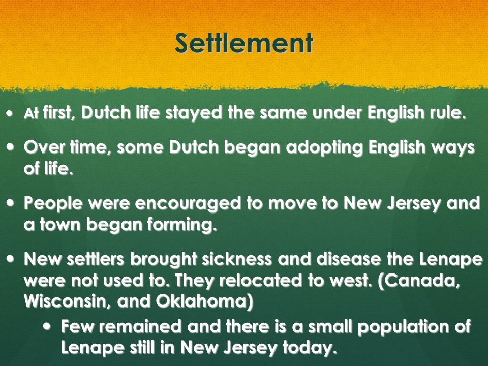 Settlement Over time, some Dutch began adopting English ways of life.