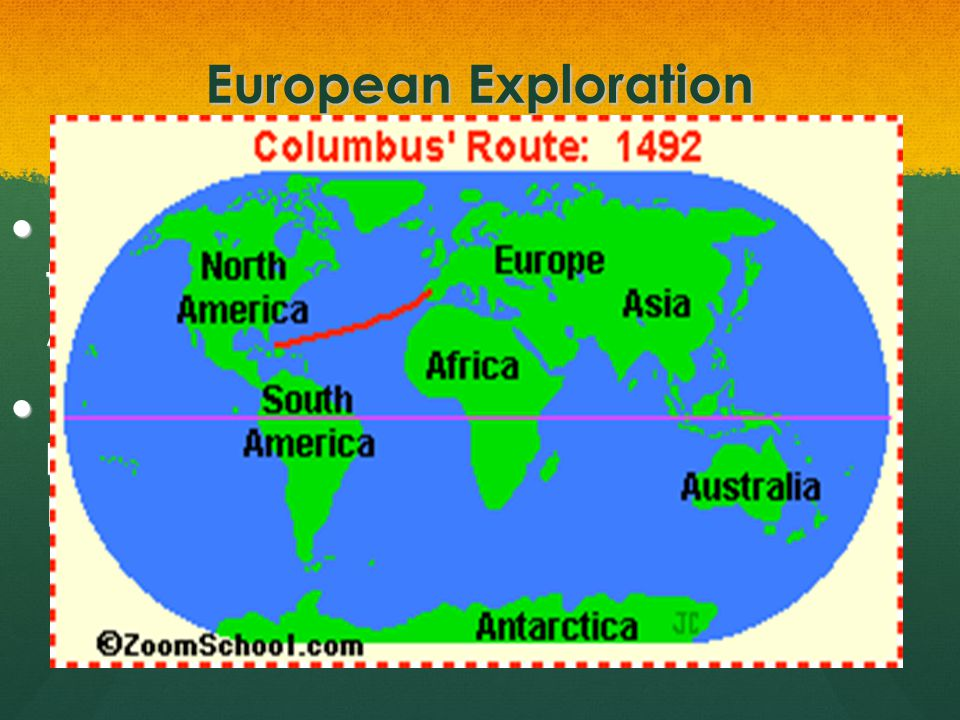 European Exploration 1400s- To reach Asia faster, people thought they could sail west across the Atlantic Ocean.