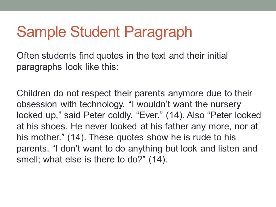 Sample Student Paragraph