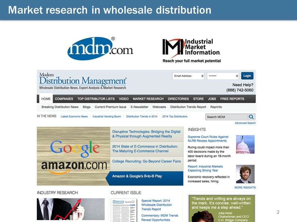 Market research in wholesale distribution