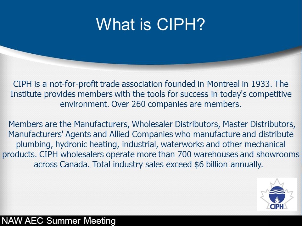 What is CIPH NAW AEC Summer Meeting