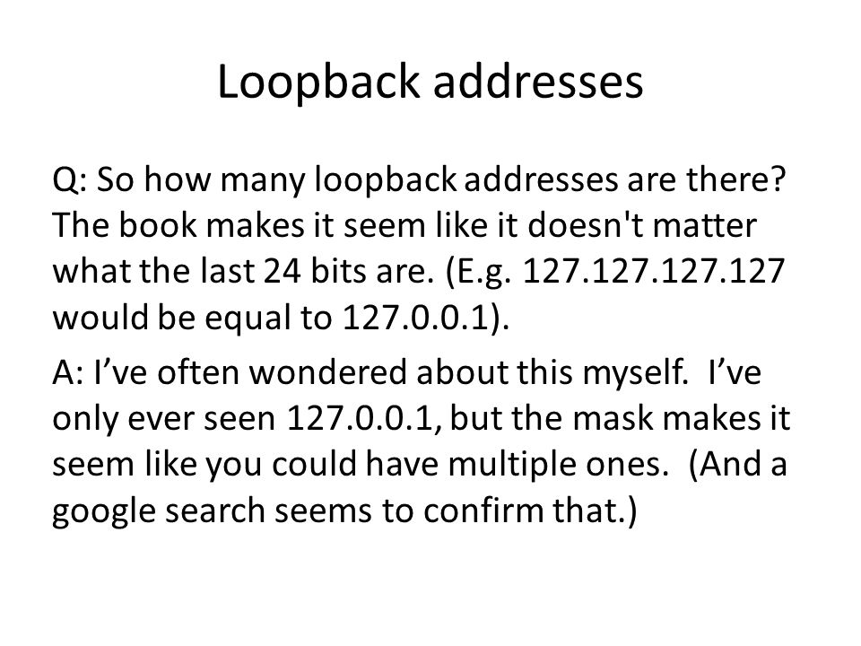 Loopback addresses