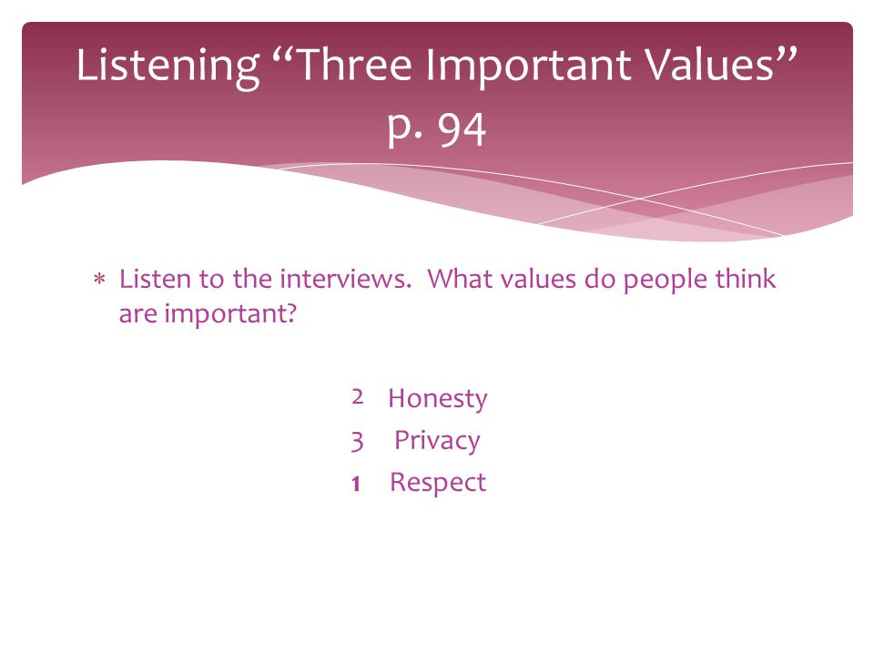Listening Three Important Values p. 94