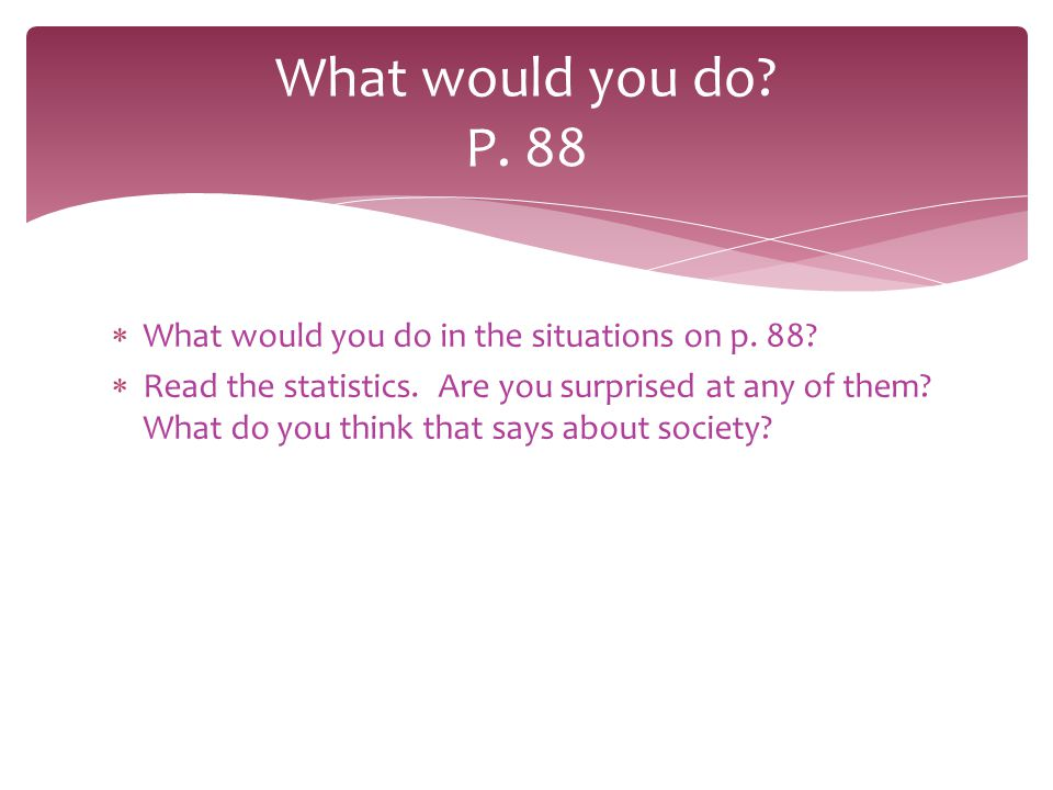 What would you do P. 88 What would you do in the situations on p. 88