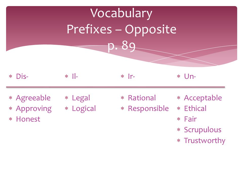 Vocabulary Prefixes – Opposite p. 89