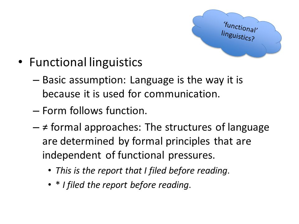 Functional linguistics