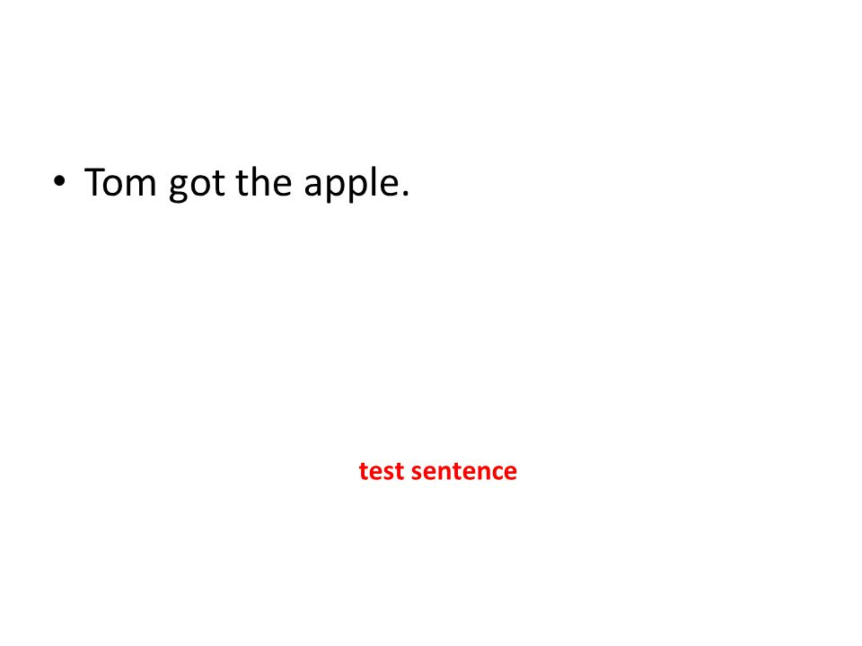 Tom got the apple. test sentence