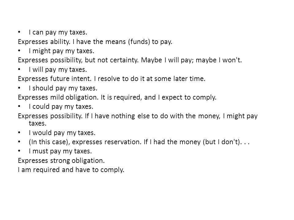 I can pay my taxes. Expresses ability. I have the means (funds) to pay. I might pay my taxes.