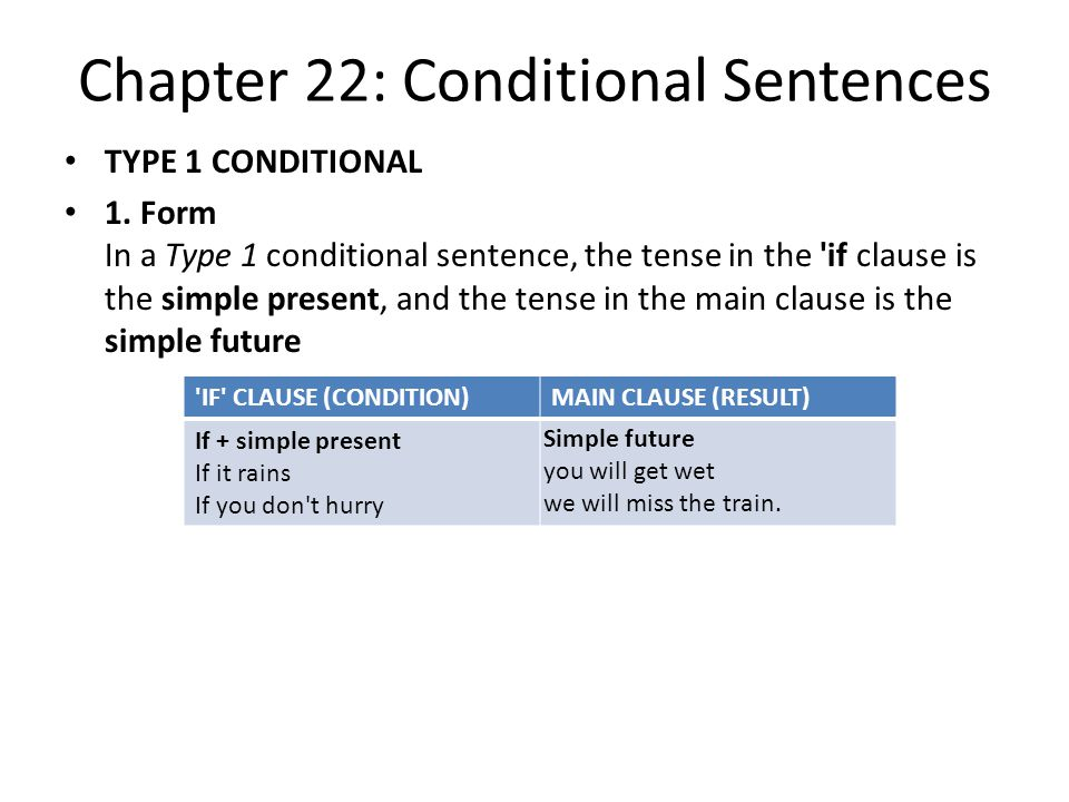 Chapter 22: Conditional Sentences