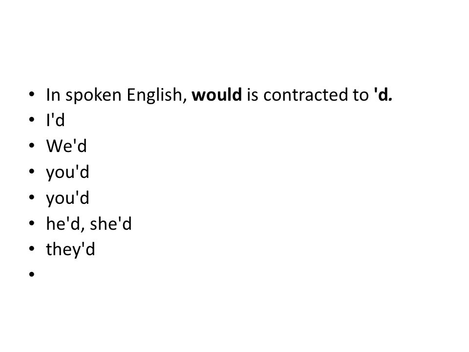 In spoken English, would is contracted to d.